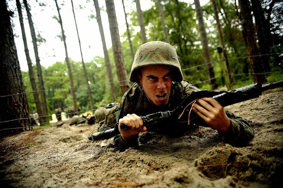 A U.S. Marine Corps recruit participates in a daytime movement simulator during basic training at Marine Corps Recruit Depot Parris Island.