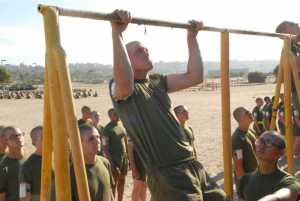 Recruits at Marine Corps Recruit Depot Parris Island do pull ups as part of the Initial Strength Test.